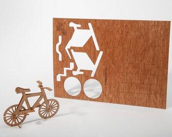 Wooden Postcard – Bike 3 Cards