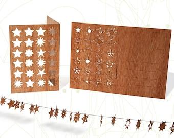 Wooden Postcard – 24 Stars/Advent Calendar, 3 Cards