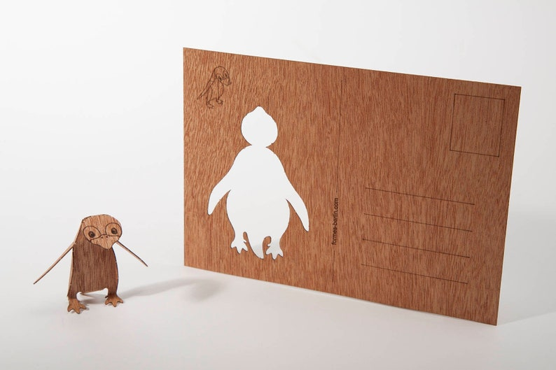 Wooden Postcard \u2013 Penguin 3 Cards
