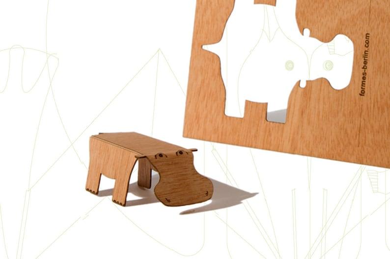 Wooden Postcard \u2013 Hippo 3 Cards