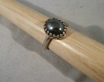 Mirror-Like Hematite in Sterling Silver Ring - Size 7