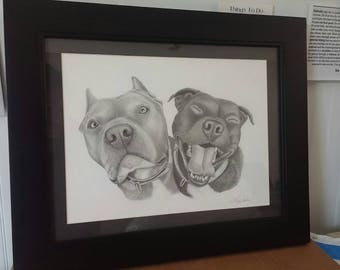 Framed Dog Pencil Portraits~All Sizes ~ Hand-Drawn from your photos