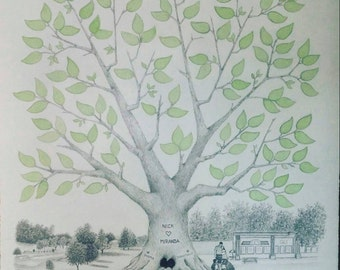 """Wedding Guest Book Tree ~ Hand-made with Custom Background Option~ 16"""" x 20"""""""
