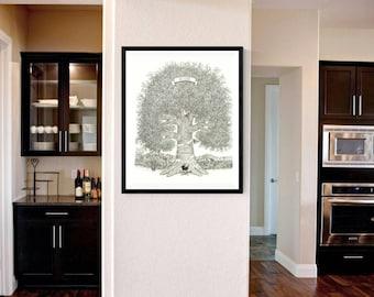 "Wall Art- 11""x 14"" Hand-Drawn Family Tree  Anniversary, Birthday, Reunion, Memorial Tree"