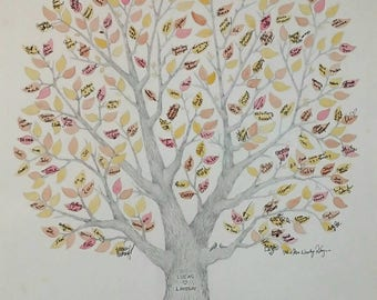 """Large 22"""" x 30"""" Wedding Guest Book Tree OR Family Reunion Tree ~ Custom, Hand-Drawn & Watercolored~FREE US Shipping"""