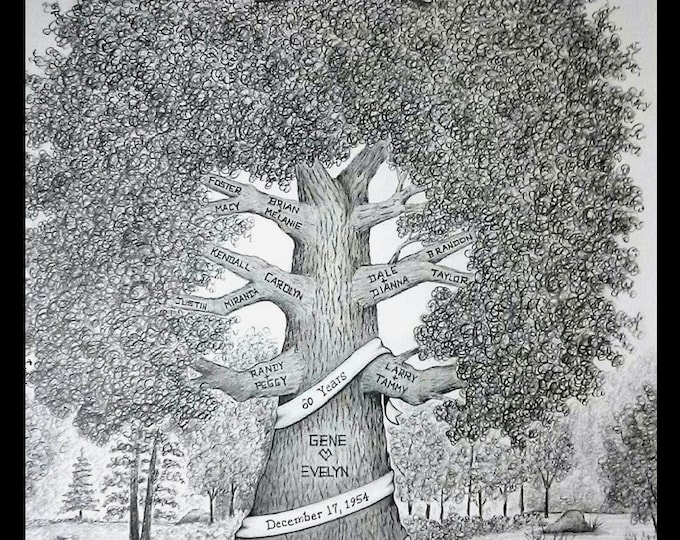 "Featured listing image: Family Tree Deposit- 11""x 14"" Personalized, Hand-Drawn Family Tree ~ Anniversary, Birthday, Reunion, Memorial Tree"