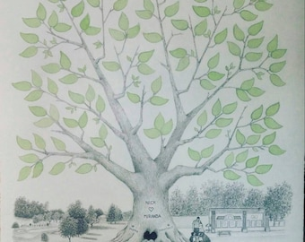 "Wedding Guest Book Tree ~ Hand-made with Custom Background Option~ 16"" x 20"""