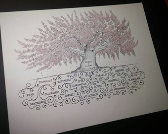 Personalized Family Tree- Custom 11x14 Pen & Ink Tree