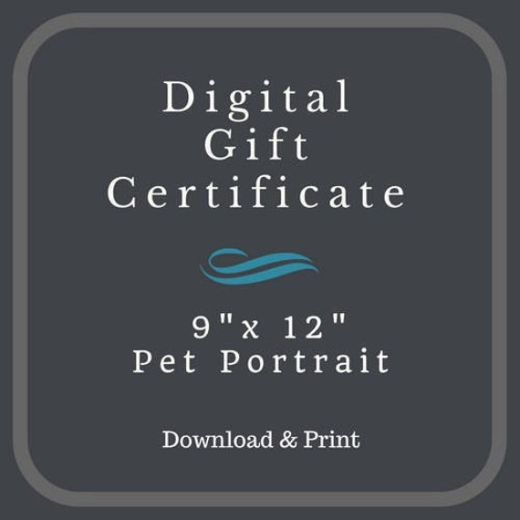 "Digital Dog Portrait Gift Card 9"" x 12"" ~ Download Now!"