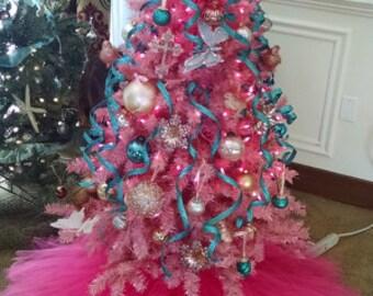 hot pink christmas tree skirt