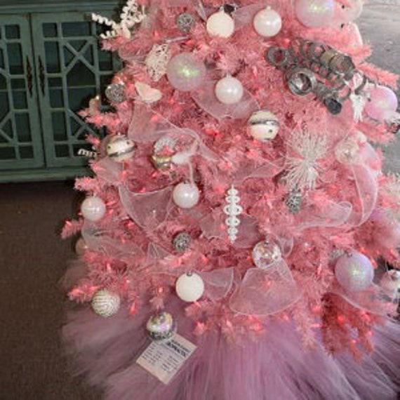 Pink Christmas Lights.Pale Pink Christmas Tree Skirt 54 Diameter