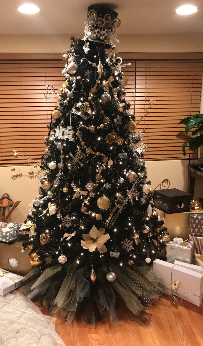 Black And Gold Christmas Tree Skirt 48 Diameter With White Polka Dots