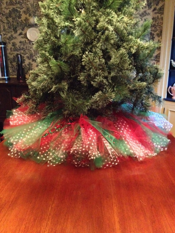 Red Green with White Polka Dots Christmas Tree Skirt 36 | Etsy