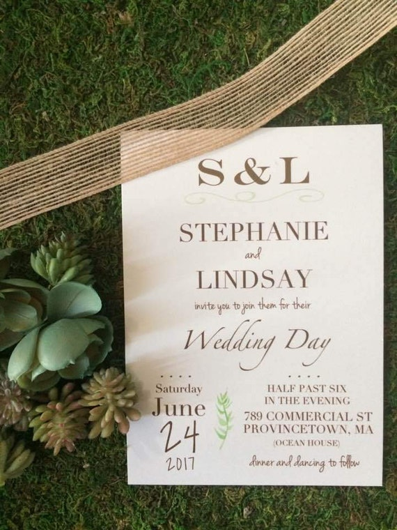 Natural Wedding Initials Invitation Suite With Deluxe Box Enclosure Option
