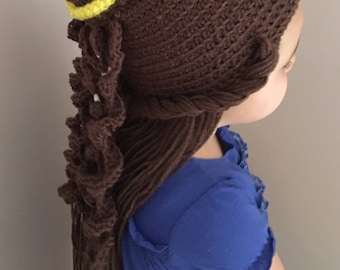 Crocheted Belle Hat Crochet Belle Wig Choose your size  a2866dc0d71