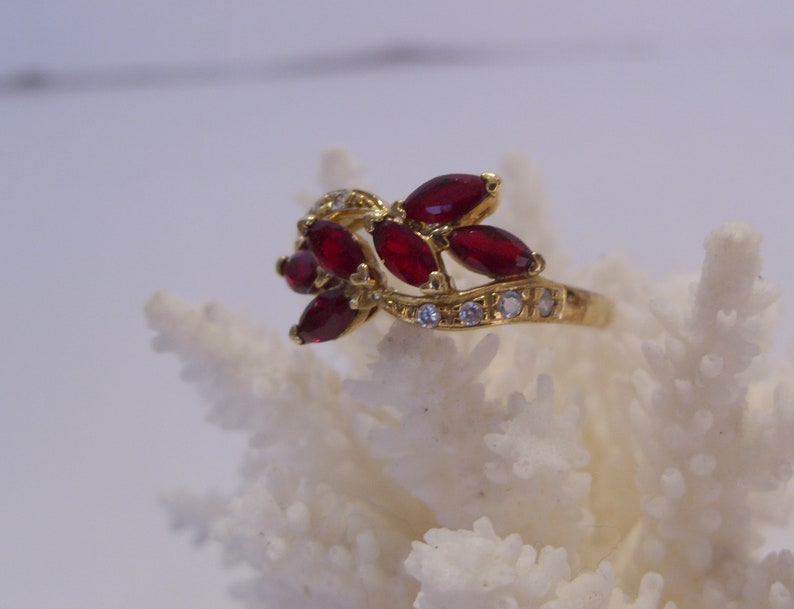 Great Gift Gold Plate Over Sterling Silver Red Marquise Shape Multi Stone Ring Size 10 14 Vintage Multi Stone Fashion Ring