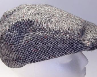 Vintage Black Tweed Newsboy Cap Size Medium 7 - 7 1/8 Great Father's Day Gift