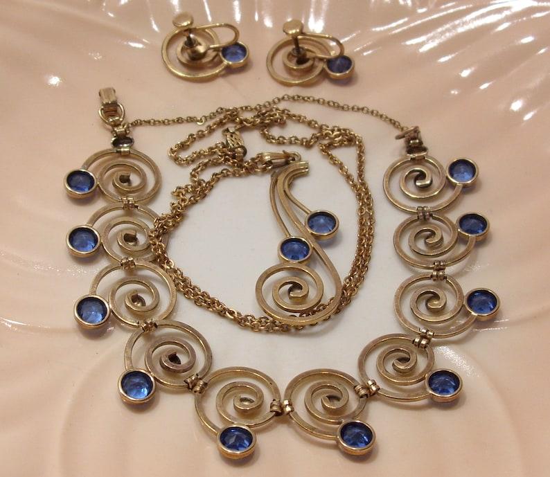 Great Gift Sapphire Blue Glass Simmons Gold Filled Demi Parure Pendant Necklace Bracelet Screw Back Earrings Art Deco Something Blue Bride