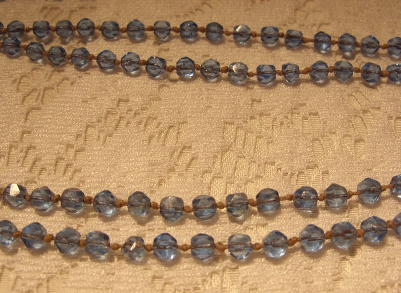 Long Vintage Blue Glass Necklace Individually Knotted 62 Inches Long Blue Faceted Glass Necklace Art Deco Roaring 20/'s Great Gift