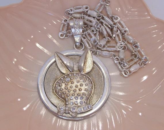 Playboy Bunny Large Spinning Medallion Pendant Nec