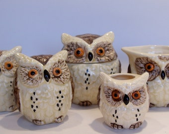 Enesco Owl Set of Sugar, Creamer, S & P and Toothpick Holder 1979 Great Gift