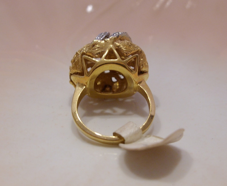 18 KT Heavy Gold Electroplate Ring with Silver Rhinestone Accents Size 7 Great Gift NOS Vintage Dome Filigree Ring
