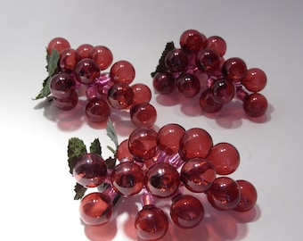 Decorative Bunches of Grapes in Raspberry Pink, Red  Group of Three, Home Decor, Package Decor