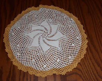 Hand Crocheted 13 Inch Vintage Doily Pinwheel Design White with Yellow Gold Edge, Home Decor, Vintage Gift
