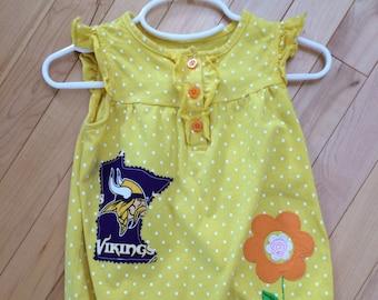 28a744c4b Minnesota Vikings Baby Girl Tank Ruffled Romper ~ Size 24 Months ~ Upcycled  ~ Skol Vikings ~ Perfect Gift for Baby Vikings ~ Polka-Dot Fun!