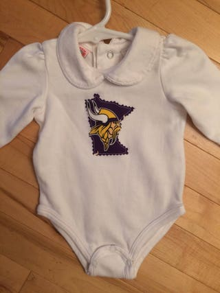 Minnesota Vikings Baby Girl Onesie ~ Size 0-3 Months ~ UPcycled ~ Skol Vikings ~ Perfect Gift for the Baby Vikings Fan ~ Show Your Horns!