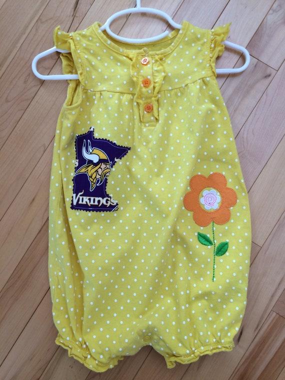 881707f13 Minnesota Vikings Baby Girl Tank Ruffled Romper Size 24 | Etsy
