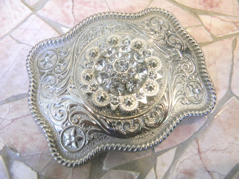 Western Berry Concho Rhinestone Belt Buckle Unique Metal Custom Belt Cowgirl Sparkle Etched Silver Country Girl Buckle