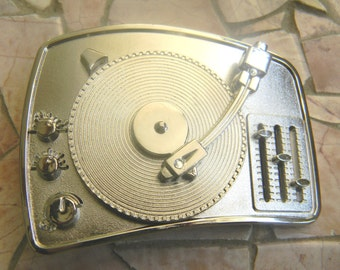 Music Record Player Silver Belt Buckle, Turntable Vinyl Record Buckle, DJ Gifts, House Music, Hip Hop Buckle, Mens Womens Kids Belt Buckle