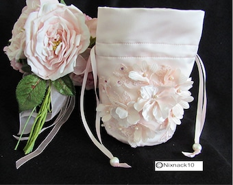 BRIDAL  BAG, BLUSH with 3D flowers