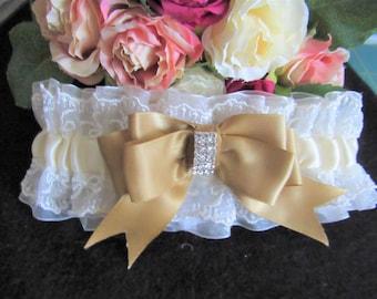 WEDDING GARTER ,IVORY, antique gold bow, diamante embellishment