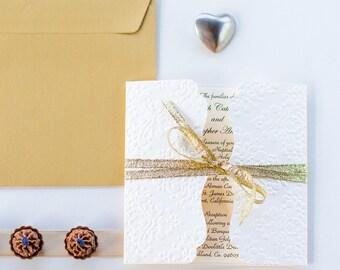 Elegant white and gold wedding invitation Luxury wedding invitation Fairytale wedding invitations