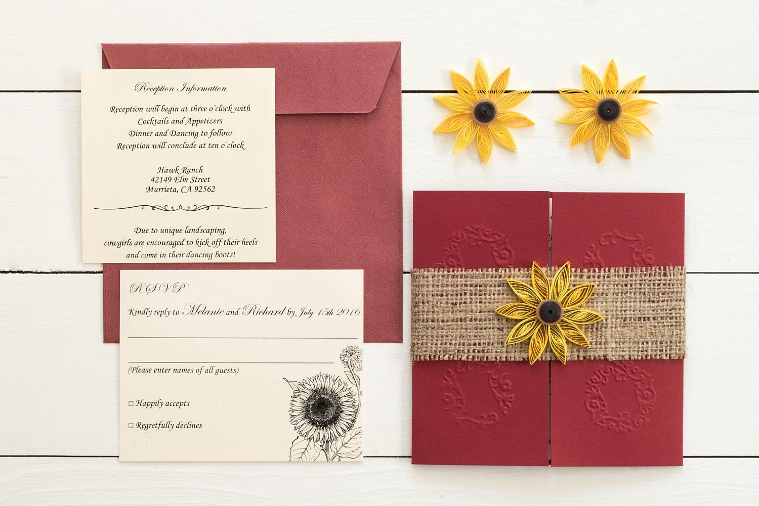 Sunflower and burgundy wedding invitation Sunflowera nd burlap | Etsy