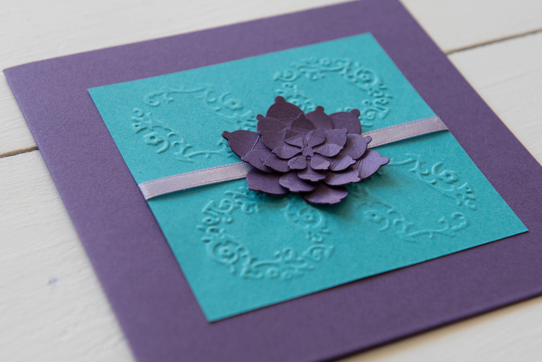 Purple And Blue Wedding Invitations: Purple And Teal Wedding Invitation Peony Wedding