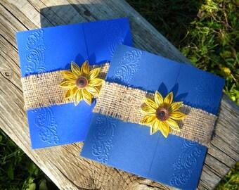 Cobalt blue and sunflower wedding invitation / Burlap wedding invitation / Sunflower and blue wedding invitation