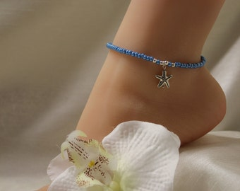 Turquoise Anklet Starfish Beach Jewelry Bridal Anklet Wedding Anklet Beach Wedding Jewelry Ankle Bracelet