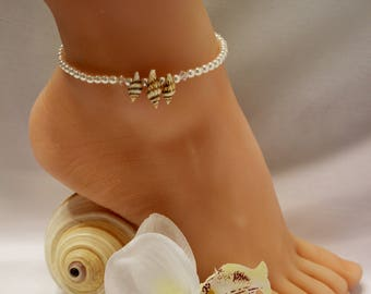 Seashell Anklet Pearl Beach Jewelry Bridal Anklet Wedding Anklet Beach Wedding Jewelry Pearl Seashell Ankle Bracelet