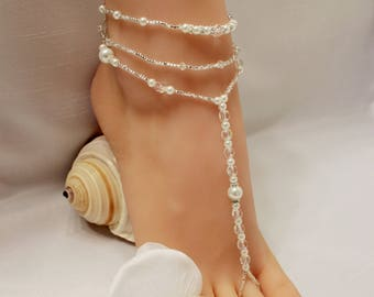 Barefoot Sandals Crystal Foot Jewelry Pearl Beach Wedding Sandal Wedding Sandles Beach Sandals Bridesmaids