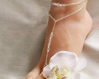 42c76eee1b1a1f Crystal Beach Wedding Barefoot Sandal Foot Jewelry Bottomless Sandals Beach  Wedding Shoes