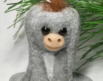 OOAK Nestor the Long Eared Donkey Ornament by Aaron Matthies (light gray)