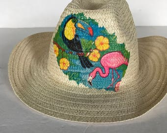 006ed5cc Pink Flamingo Straw Hat, Pink Flamingo Sun Hat, Summer Party Hat, Sun Straw  Hat, Beach Fun Style, Party Beach Hat, Sun Hat