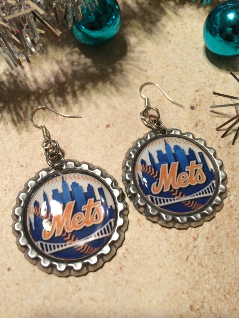 New York Mets Earrings Mets Clip On Earrings New York Mets Baseball Earrings New York Mets Jewelry Handmade Gift for Mets Fan