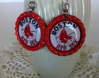 Boston Red Sox Earrings, Boston Red Sox Baseball Earrings, Boston Red Sox Jewelry, Red Sox Dangle Earrings, Handmade Gift, Red Sox Gift