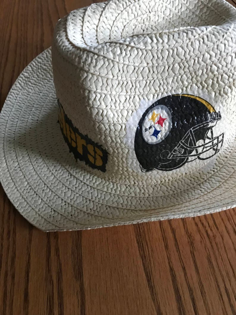 Steelers Accessory Pittsburgh Steelers Straw Hat Steelers Floppy Sun Hat Hand Decorated Steelers Straw Hat Steelers Floppy Hat
