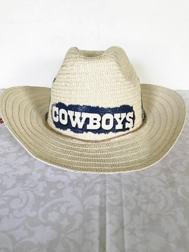 ddb17735422403 Dallas Cowboys Straw Hat Cowboys Floppy Straw Hat Dallas | Etsy
