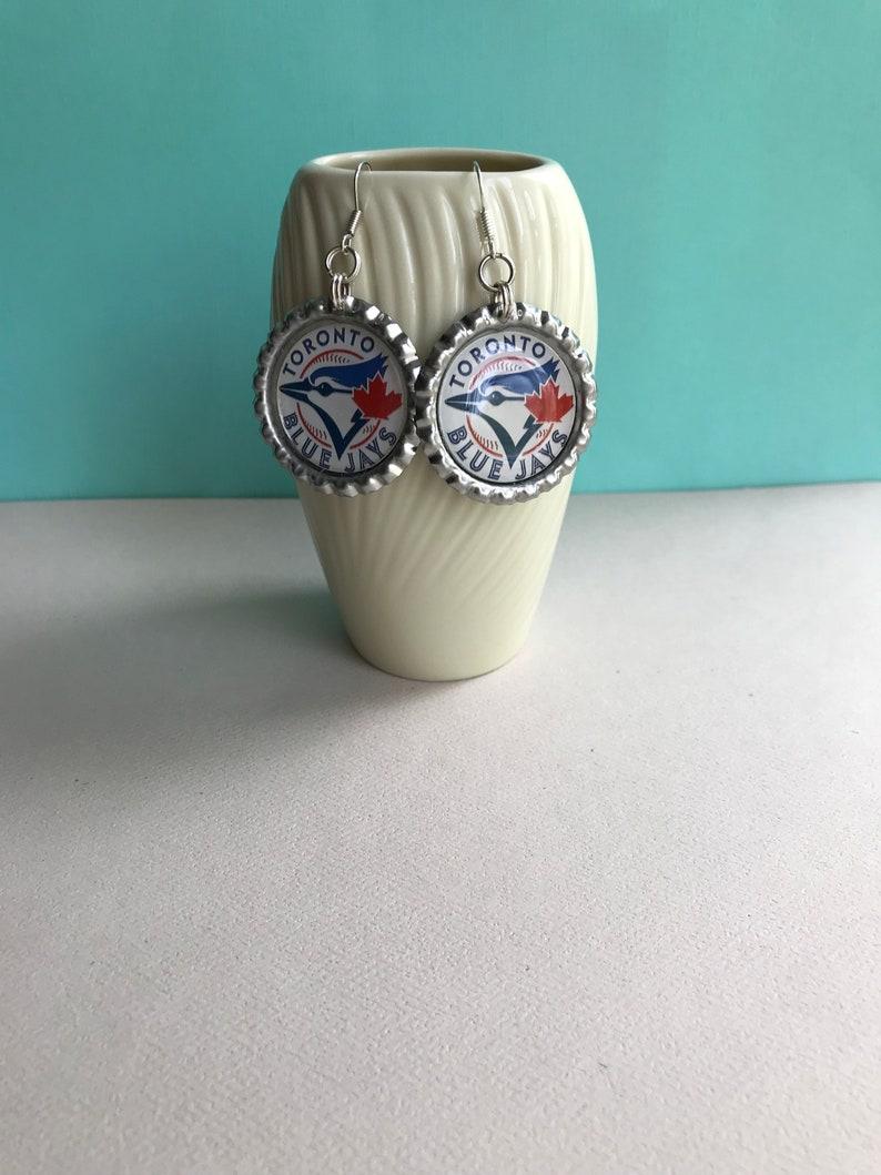 Toronto Blue Jays Earrings Toronto Blue Jays Baseball Accessory Handmade Gift Toronto Blue Jays Jewelry Toronto Blue Jays Gift